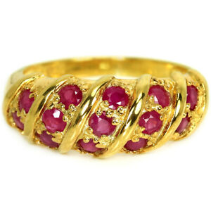 GENUINE AAA PINK RED RUBY ROUND STERLING 925 SILVER JOURNEY RING SIZE 6.25