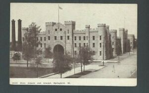 Ca 1910 Post Card Springfield IL State Arsenal & Armory