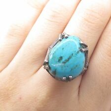 Antique 925 Sterling Silver Real Large Turquoise Gemstone Wide Ring Size 7