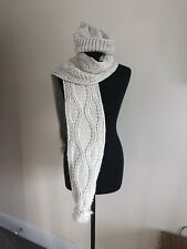 Ladies Top Shop Cream Scarf And Bobble Hat