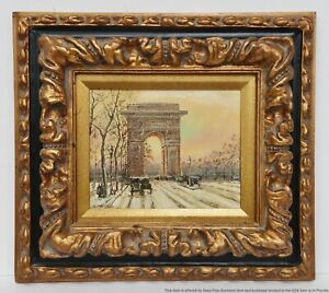 Vintage A Marvell Paris ArcDeTriomphe Sunset Winter FrenchImpressionist Painting