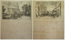 1841 BIRMINGHAM TO SHEFFIELD PRINTED ILLUSTRATED LETTER SHEETS HANDWRITTEN TEXT