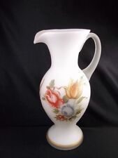 """Cased satin glass pitcher or vase floral decals hand painted gold accents 9"""""""
