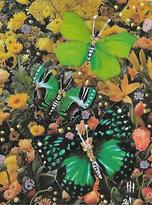 """ACEO Original """"Butterflies"""" Collage & Painting, Hélène Howse"""