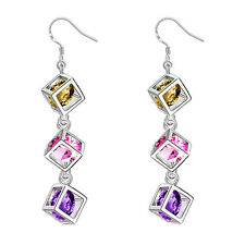 Fashion 925 Sterling Silver plated Earrings Drop Dangle Triple Cube Crystals