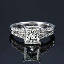 3.20Ct Forever Princess Cut Womens Engagement Wedding Ring In14Kt White Gold.