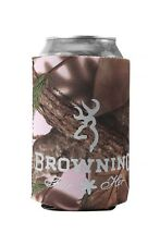 Browning Buckmark PInk Camo Can Coozie, Camouflage Koozie Cooler