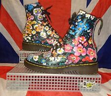 Rare*England Made*90s Vintage Black Floral Dr Doc Martens*Hippy Meadow Flowers*4