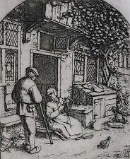 Adriaen Jansz Van Ostade Dutch 1610-1685 Etching Woman Winding upon a Reel