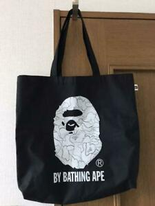 A BATHING APE BAPE Tote Bag Pouch Black x white Rare JAPAN F/S W/Tracking Used