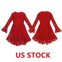 US Floral Girls Princess Dress Wedding Bridesmaid Pageant Party Lace Sleeve Maxi