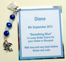 Something Blue Good Luck Bridal Charm Welsh Dragon Clip-on Charm Personalised