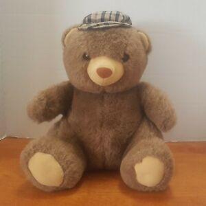 Vintage 1984 Plush Arthur Teddy Bear by Dakin Brown with Plaid Tartan Hat Stuffy