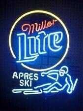 "Miller Lite Apres Ski Neon Light Sign 32""x24"" Lamp Poster Real Glass Beer Bar"