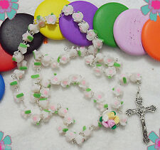 Mothers Day Gift- Catholic ROSARY-WHITE Rose Flower Ceramic bead with a Crucifix