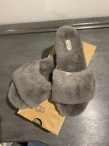 Genuine Ugg Grey Slippers Sliders - Size 5 38 BNIB