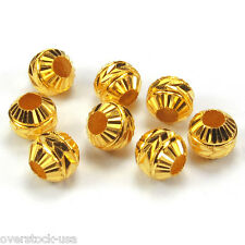 10pcs Solid 24K Yellow Gold 5.5mm Caved Beads 2.2g / for Bracelet