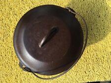 Vintage Deep #8 Cast Iron Pot Dutch Oven w/Lid Cover