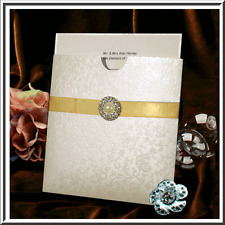 COTTON WHITE APPLIQUE WALLET INVITATION APPLIQUE ENVELOPE, CARD & PAPER INSERTS