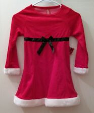 Santa Claus Red Christmas Holiday Velour Faux Fur Dress Girls Size Small 6X