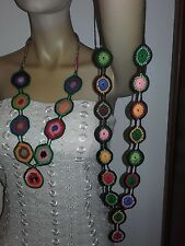 Collane Hippy multicolor all'uncinetto, cotone, accessorio donna handmade