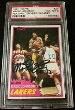 PSA/DNA AUTO 8/10 1981-82 Topps MAGIC JOHNSON 2nd year OLD SCHOOL COA W/ STICKER