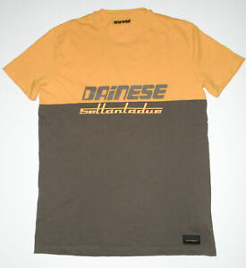 DAINESE Settantadue s/s T-Shirt YELLOW & GRAY 2 Tone Casual Tee Mens NEW Slim LG