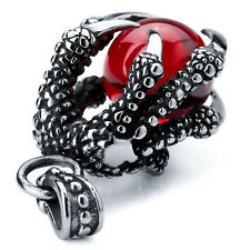 Men's Biker Crystal Red Stone Six Dragon Claw 316L Stainless Steel Pendant