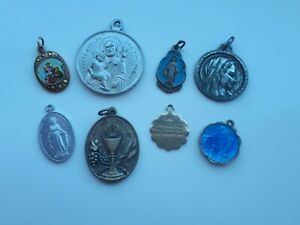 8 x Religious Medals Charms Silver Enamel Italy Hong Kong Lourdes Eucharist etc