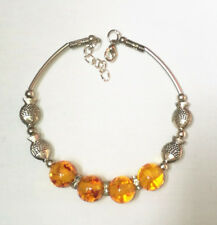 Ladies Jewelry Bangle Tibet Silver Fish Amber Bracelet Jewelry