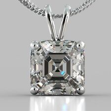 Near White Asscher Solitaire Moissanite 1.00 Ct 925 Sterling Silver Rare Pendant