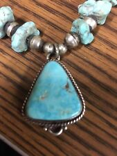Beautiful Navajo Turquoise Sterling Silver Necklace - Must See!