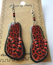 Earring Spirit of Nature flip flops leopard print orange  black- beads pretty