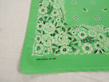 Vintage Antique LIME GREEN MADE IN USA U.S.A. Cotton Biker BANDANA Handkerchief