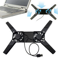 Folding USB Dual Fan Cooler Rotatable Cooling Pad Stand For PC Notebook Macbook