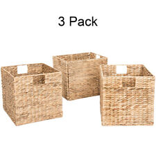 New ListingDecorative Hand-Woven Small Water Hyacinth Wicker Storage Baskets, Set of Three
