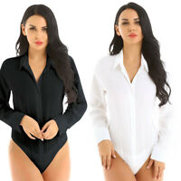Women Ladies Stretch Leotard Work Bodysuit Shirt Long Sleeve Top Jumpsuit Romper