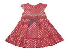 NUEVO Rosa y blanco de Topos Vestido niña de fiesta 12-18 18-24 2-3 3-4 AÑOS
