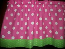 Pink Polka Dot Lime Green Trim bedroom fabric curtain window topper Valance