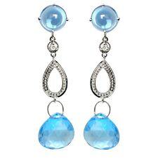 De Buman 3 ct.  Swiss Blue Topaz Earrings in 10K WG with Diamonds