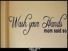 WASH YOUR HANDS VINYL WALL DECAL STICKER DECOR MOM CLEAN BATHROOM SALLE DE BAIN
