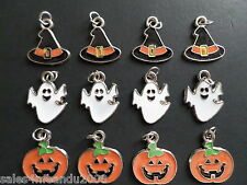 12 Enamel Halloween Ghost Pumpkin Witch Hat Charms Scrapbooking Jewelry W40
