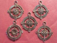 Tibetan Silver Boussole Charms - 5 par paquet