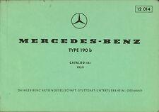 Mercedes-Benz Type 190 B catalog a 1959 catalogue de pièces de rechange Pièces Catalogue auto voitures