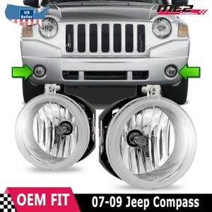 For Jeep Compass 07-09 Factory Bumper Replacement Fit Fog Lights Clear Lens