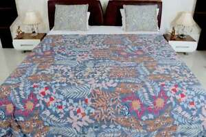 New Indian Twin Kantha Quilt Gray Suzani Cotton Handmade Bedspread Bedding Throw