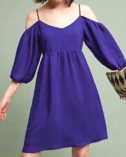 New MOULINETTE SOEURS x ANTHROPOLOGIE Womens CARINA Off-Shoulder Dress Blue Sz.L
