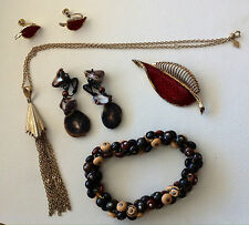 Vintage Costume Jewelry Lot Earrings Necklace Button Bracelet Brooch Earrings