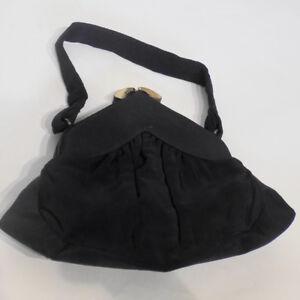 Vintage 40s Black Faille Handbag Purse Fabric Cloth Spotlite