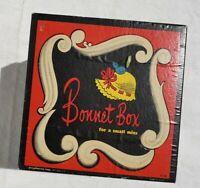 Vintage Hat Box BONNET Box Pressman Toy Corp 1118 with Doll Felt Hats